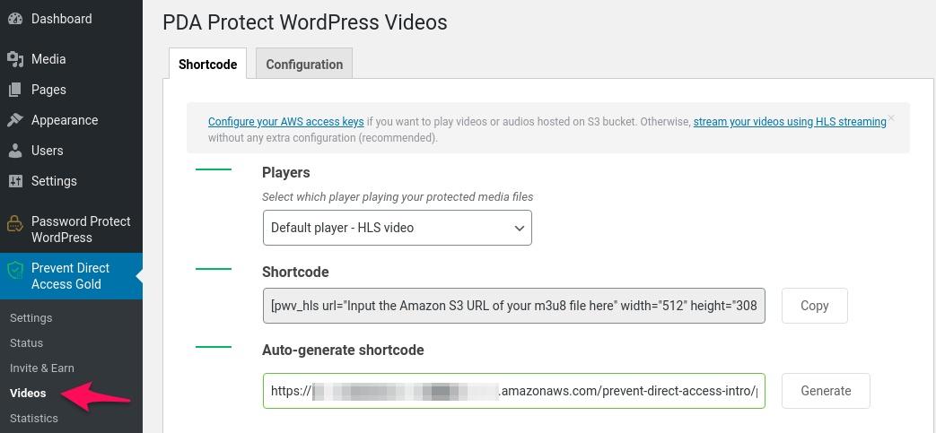 HLS Videos: PDA Shortcode