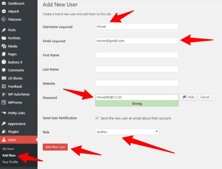 export WordPress posts add new user