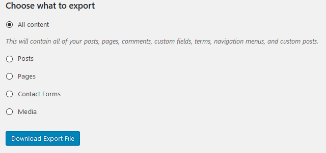 export WordPress posts download export file