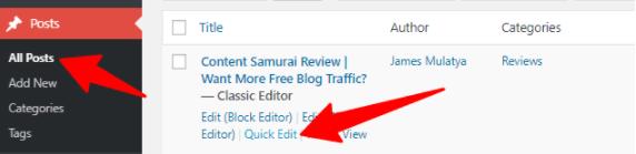 export WordPress posts quick edit