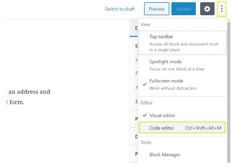 Edit HTML in WordPress code editor