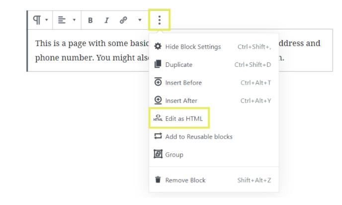 Edit as HTML in WordPress