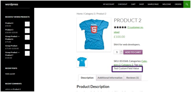 WooCommerce custom field under product page