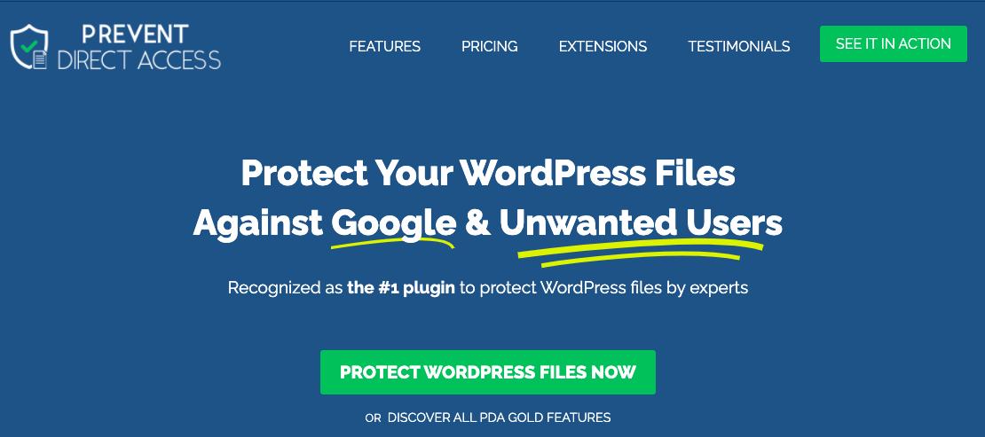 Prevent Direct Access premium plugin