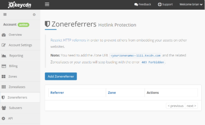 disable hotlink with Zonereferrers