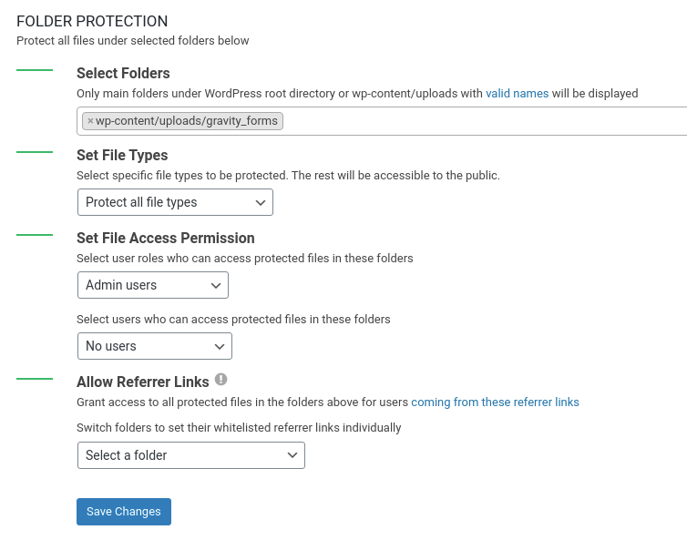 WordPress Folder Protection